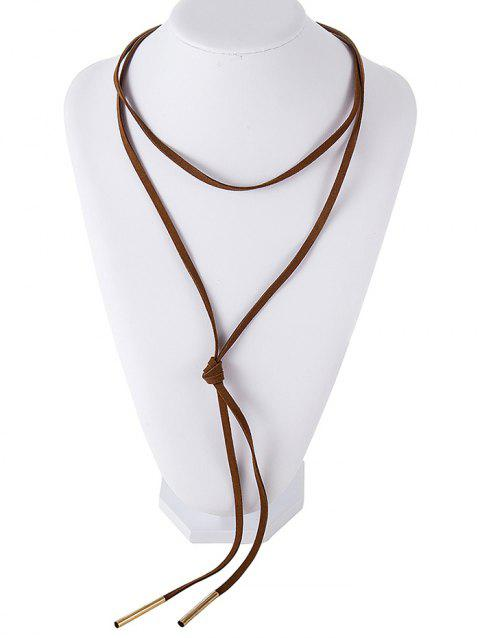 Faux Suede Layered Necklace - BROWN
