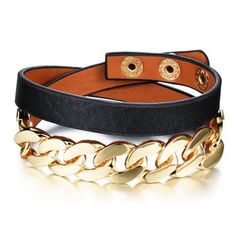 Fashion Faux Leather Chainsaw Layered Strand Bracelet For Women - BLACK