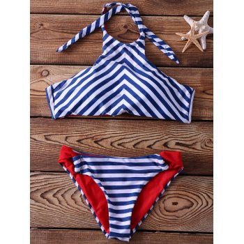 Halter Sleeveless Striped Lace-Up Bikini Set