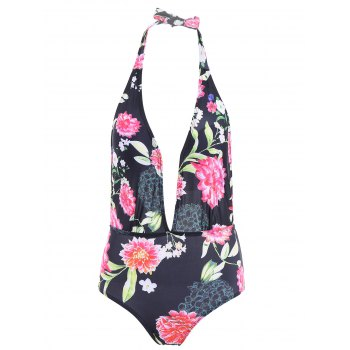 Sexy Halter Floral Print Low Cut One-Piece Women's Swimwear