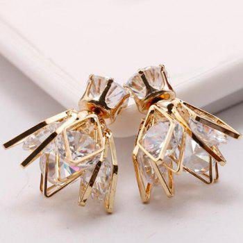 Pair of Faux Zircon Double End Rhombus Flower Stud Earrings