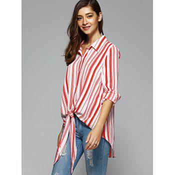 Women's Fashionable High Low Striped Knot Front Shirt - STRIPE S