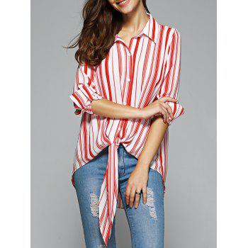 Women's Fashionable High Low Striped Knot Front Shirt
