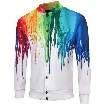 Snap Button Up Multicolor Print Long Sleeve Men's Jacket