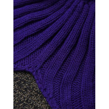High Quality Color Block Crochet Knitted Mermaid Tail Blanket - COLORMIX