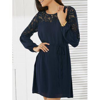 Casual Women's Round Neck Long Sleeve Lace Dress
