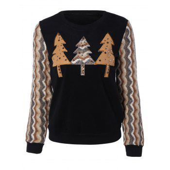 Retro Trees Applique Wave Stripe Long Sleeve Blouse