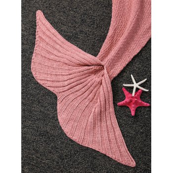 Fashion Knitted Falbala Shape Mermaid Tail Design Blankets For Baby -  PINK