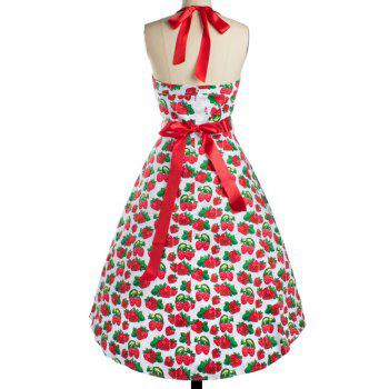 Strawberry Print Bowknot Halter Cocktail Dress - RED 2XL