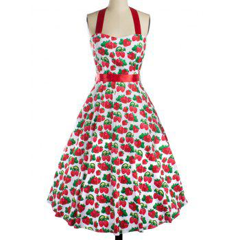 Strawberry Print Bowknot Cocktail Dress