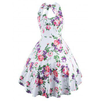Vintage Halter Neck Floral Party Cocktail Print Dress