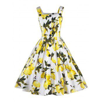 Vintage Lemon Print Button Up Flare Dress