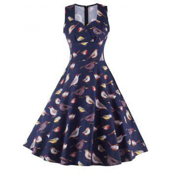Sleeveless Birdie Print Cocktail Dress
