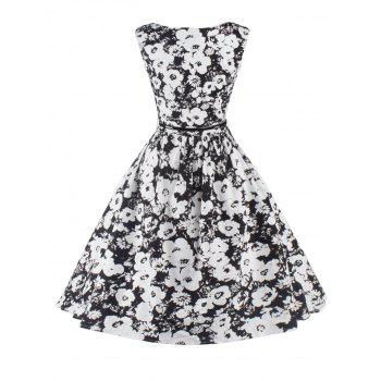 Sleeveless Floral Fit and Flare Cocktail Dress - BLACK 2XL