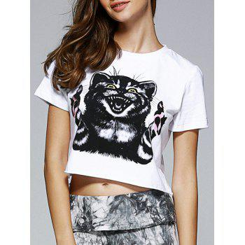 Fashionable Women's Round Neck Short Sleeve Animal Motifs Crop Top