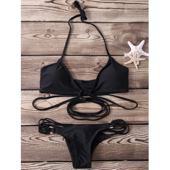Sexy Halter Sleeveless Solid Color Lace-Up Women's Bikini Set