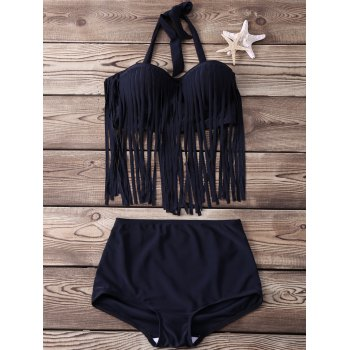 Halter Fringed Tankini Set