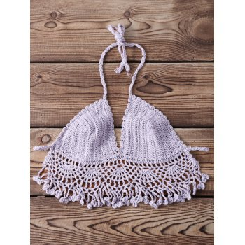 Sexy Halter Sleeveless Solid Color Knitted Fringed Women's Bra