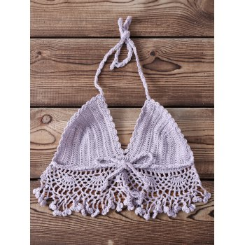 Sexy Halter Sleeveless Solid Color Knitted Fringed Women's Bra - ONE SIZE(FIT SIZE XS TO M) ONE SIZE(FIT SIZE XS TO M)