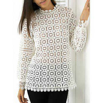 Elegant Women's Round Neck Long Sleeve Lace Blouse
