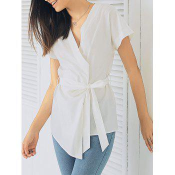 Elegant Women's Plunging Neck Short Sleeve Solid Color Bandage Blouse