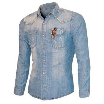 Scratched Pockets Front Turn-down Collar Long Sleeve Men's Chambray Shirt