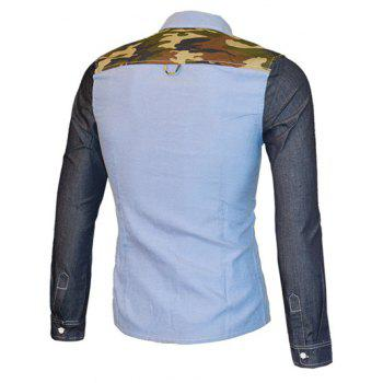 Turn-down Collar Men's Long Sleeve Camo Color Splicing Shirt - BLUE XL