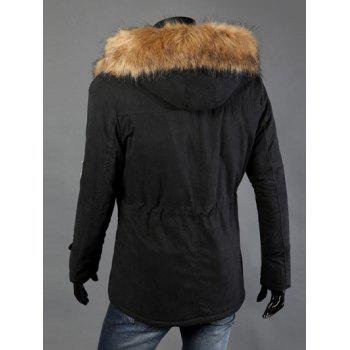 Drawstring Waist Patched Faux Fur Hooded Long Sleeve Men's Padded Coat - BLACK 4XL