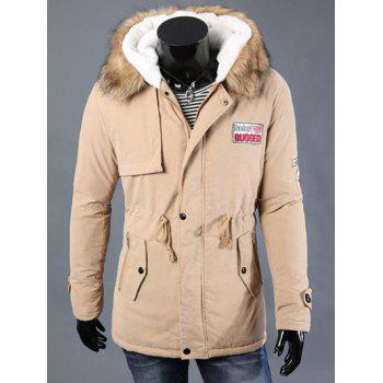 Drawstring Waist Patched Faux Fur Hooded Long Sleeve Men's Padded Coat