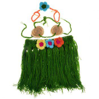 Crochet Hula Style Flower Embellished Photography Clothes Set For Baby - GREEN GREEN