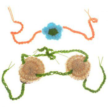 Crochet Hula Style Flower Embellished Photography Clothes Set For Baby - GREEN