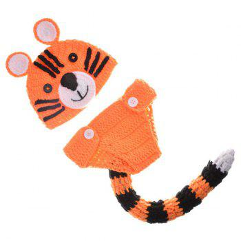 Tiger Shape Yarn Crochet Photography Clothes Set For Baby - ORANGE
