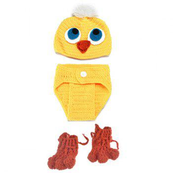 3PCS Crocheted Duck Shape Photography Baby Clothes Set - YELLOW YELLOW