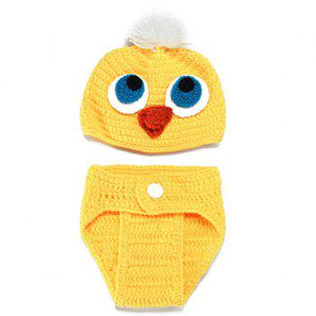 3PCS Crocheted Duck Shape Photography Baby Clothes Set -  YELLOW