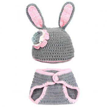 2Pcs Knitted Rabbit Photography Costume Set For Baby - GRAY GRAY