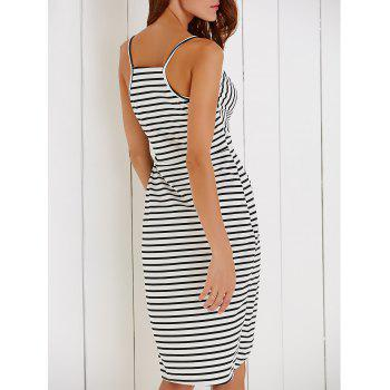 Chic Spaghetti Strap Striped Self-Tie Women's Dovetail Dress - WHITE/BLACK XL
