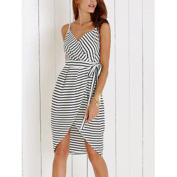 Chic Spaghetti Strap Striped Self-Tie Women's Dovetail Dress