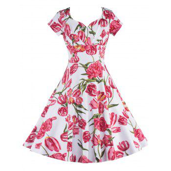 Vintage Short Sleeves Floral Flare Cocktail Dress