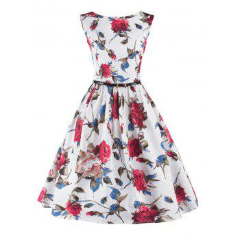 Stunning Sleeveless Floral Belted Cocktail Dress