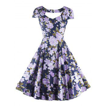 Retro Hollow Out Floral Dress For Women