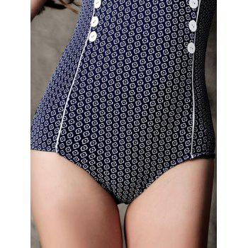 Fashionable Printed Buttoned Swimwear For Women - DEEP BLUE L