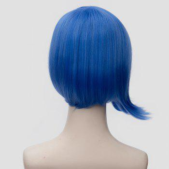 Fashion Side Parting Short Blue Asymmetric Anti Alice Hair Film Character Cosplay Wig - BLUE