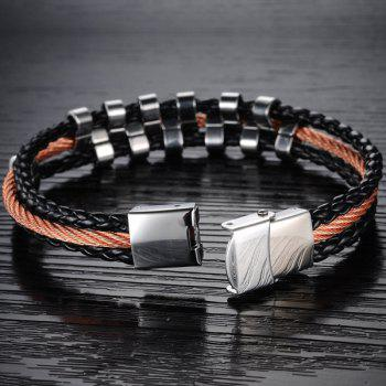 Stylish Faux Leather Layered Braided Bracelet For Men - COLORMIX
