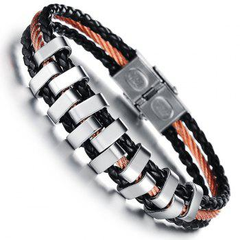 Stylish Faux Leather Layered Braided Bracelet For Men