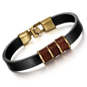 Simple Circle Faux Leather Bracelet For Men