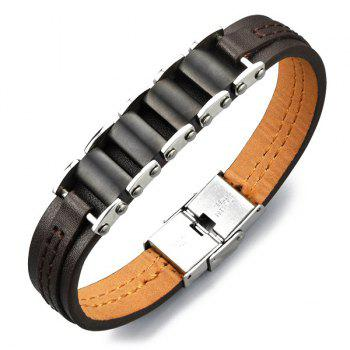 Simple Adjustable Gear Chain Faux Leather Bracelet For Men