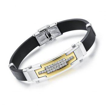 Simple Shiny Rhinestone Silicone Bracelet For Men