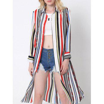 Flowing Colorful Striped High Slit Shirt