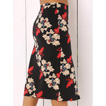 Floral Printed Midi Skirt - COLORMIX L