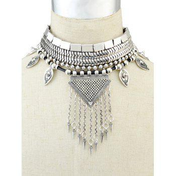 Fringed Metal Triangle Choker Necklace